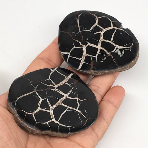 "1 Pair,216.5g,2.7""x2.5"" Natural Unique Septarian Nodules Slabs @Morocco,MF3592"