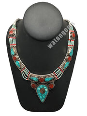 Ethnic Tribal Nepalese tribal Green Turquoise & Red Coral Inlay Necklace, E265 - watangem.com