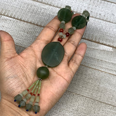 "69.4g, 1mm-37mm, 21"" Natural Untreated Green Serpentine Beaded Necklace, P232"