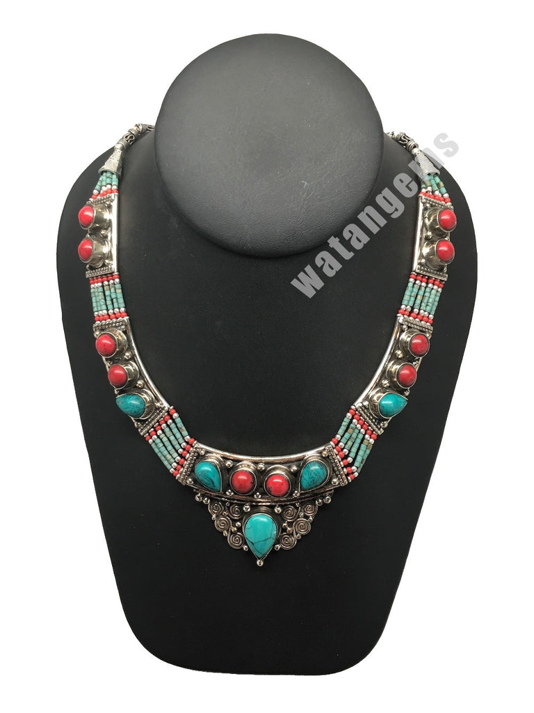 Ethnic Tribal Nepalese Green Turquoise & Red Coral Inlay Bib Boho Necklace,E269