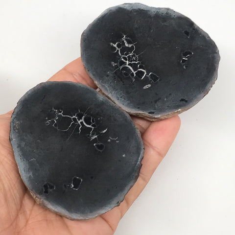 "1 Pair,266g,2.8""x2.3"" Natural Unique Septarian Nodules Slabs @Morocco,MF3595"