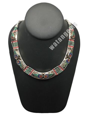Ethnic Tribal Nepalese Lapis, Green Turquoise & Red Coral Inlay Necklace,E271