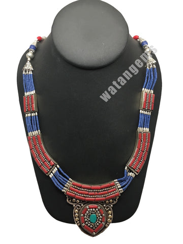 Ethnic Tribal Nepalese Lapis,Green Turquoise & Red Coral Inlay Statement Necklac - watangem.com