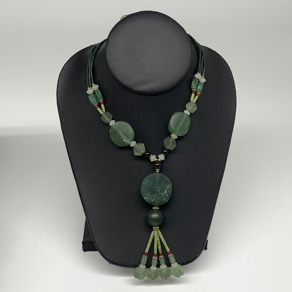 "60.8g, 1mm-28mm, 21"" Natural Untreated Green Serpentine Beaded Necklace, P236"