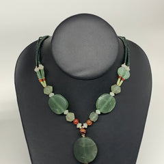 "57.5g, 1mm-28mm, 21"" Natural Untreated Green Serpentine Beaded Necklace, P237"