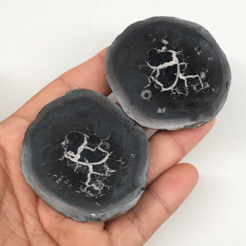 "1 Pair,141.3g,2.2""x2"" Natural Unique Septarian Nodules Slabs @Morocco,MF3597"