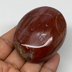 "130.9g,2.6""x2""x1.1"" Red Petrified Wood Palm-Stone Crystal Polished Reiki,B4117"