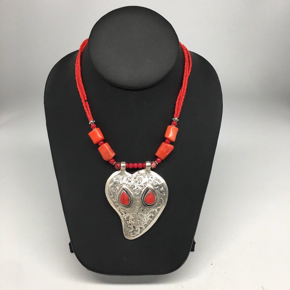 Afghan Turkmen Kuchi Tribal Red Coral Inlay Multi Beaded Pendant Necklace