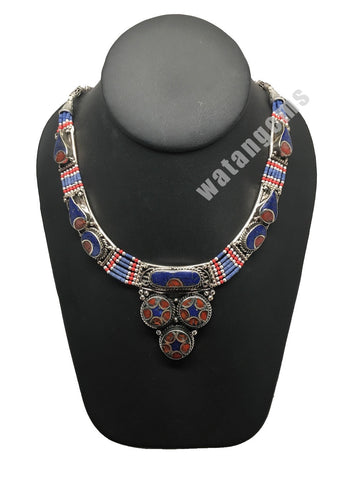 Ethnic Tribal Nepalese Lapis & Red Coral Inlay Bib Boho Statement Necklace,E280