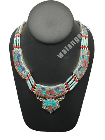 Ethnic Tribal Nepalese Lapis, Green Turquoise & Red Coral Inlay Necklace,E281