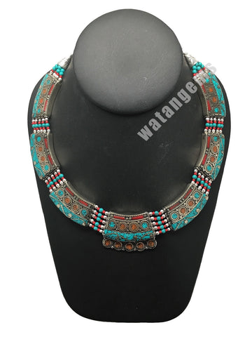 Ethnic Tribal Nepalese Green Turquoise & Red Coral Inlay Statement Necklace,E283