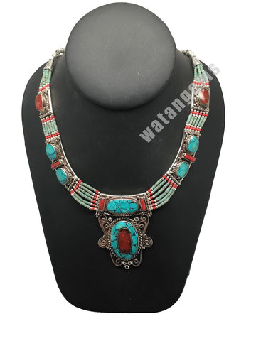Ethnic Tribal Nepalese Green Turquoise & Red Coral Inlay Statement Necklace,E284