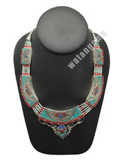 Ethnic Tribal Nepalese Lapis, Green Turquoise & Red Coral Inlay Necklace,E285