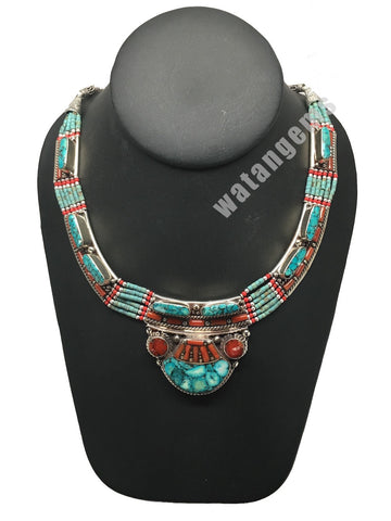 Ethnic Tribal Nepalese Green Turquoise & Red Coral Inlay Statement Necklace,E289