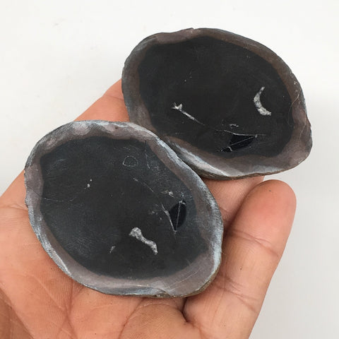 "1 Pair,99g,2.2""x1.6"" Natural Unique Septarian Nodules Slabs @Morocco,MF3606"