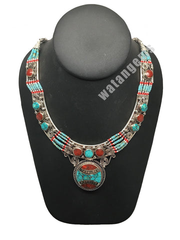 Ethnic Tribal Nepalese Green Turquoise & Red Coral Inlay Statement Necklace,E296