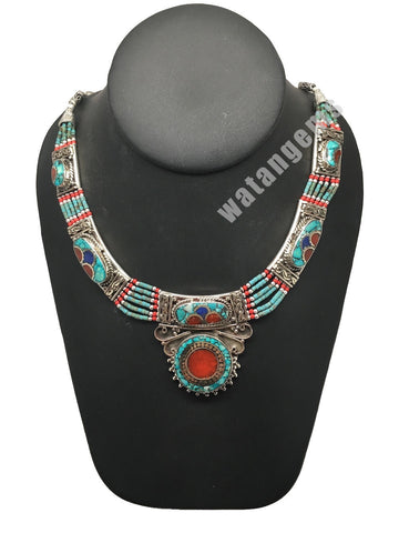Ethnic Tribal Nepalese Lapis, Green Turquoise & Red Coral Inlay Necklace,E297
