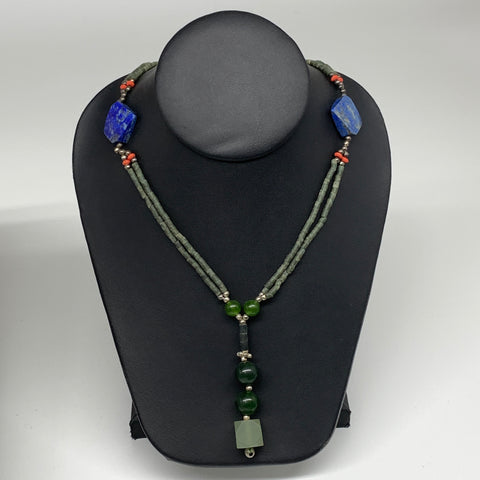 "41.1g, 3mm-21mm, 24"" Lapis Lazuli Green Serpentine Beaded Necklace, P246"