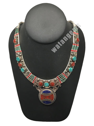 Ethnic Tribal Nepalese Lapis, Green Turquoise & Red Coral Inlay Necklace,E299
