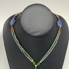 "38g, 3mm-18mm, 24"" Lapis Lazuli Green Serpentine Beaded Necklace, P247"
