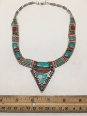 Ethnic Tribal Nepalese Green Turquoise & Red Coral Inlay Statement Necklace,E300