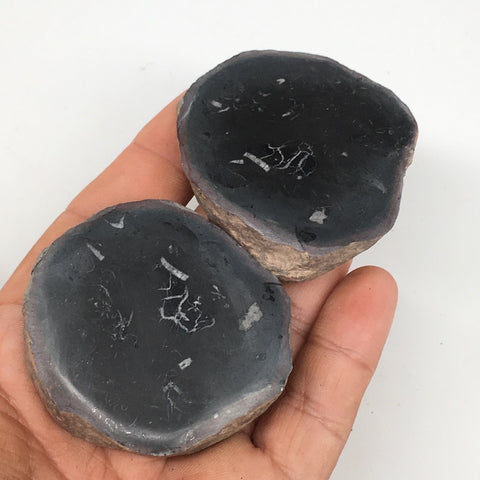 "1 Pair,127.1g,2.1""x1.9"" Natural Unique Septarian Nodules Slabs @Morocco,MF3609"
