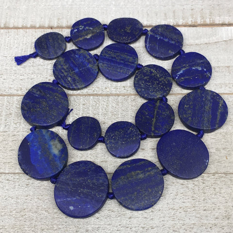 "20mm-31mm,17 Bead Lapis Lazuli Circle/Oval Beads Strand 19"" @Afghanistan,LPB581"