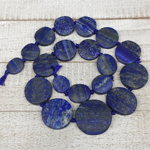 "18mm-34mm,19 Bead Lapis Lazuli Circle/Oval Beads Strand 19"" @Afghanistan,LPB582"