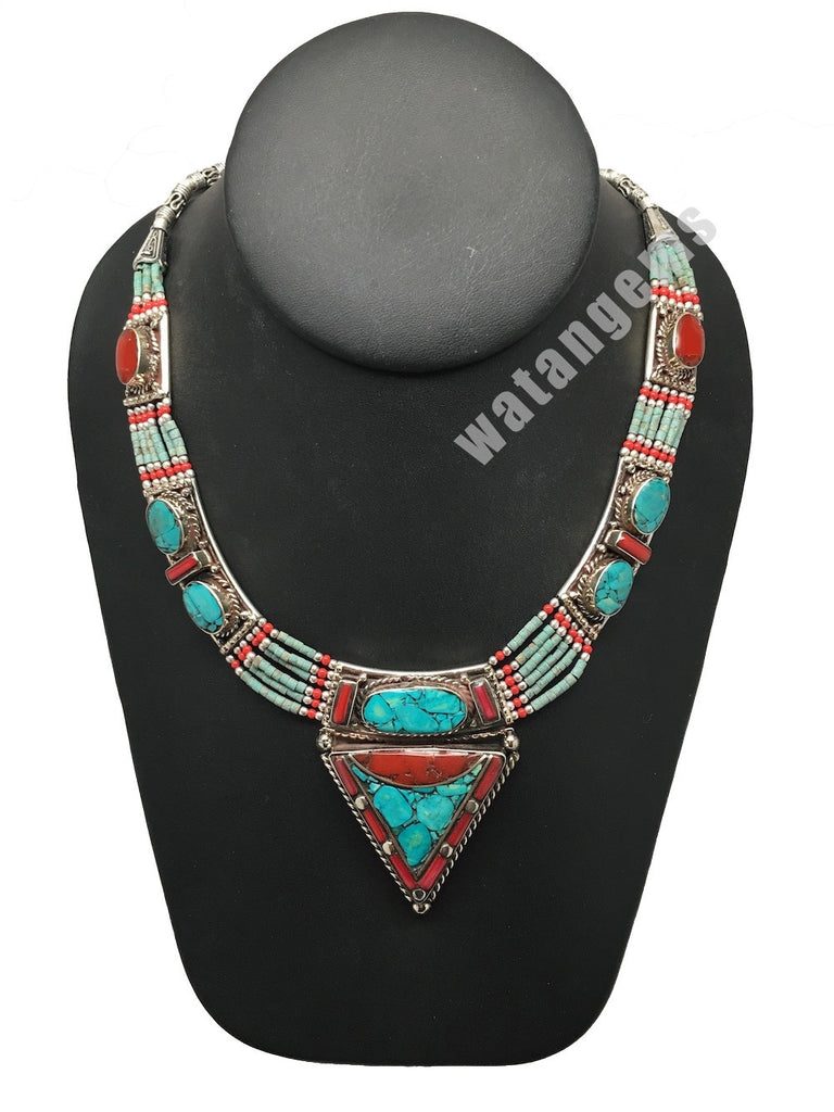 Ethnic Tribal Nepalese Green Turquoise & Red Coral Inlay Statement Necklace,E304