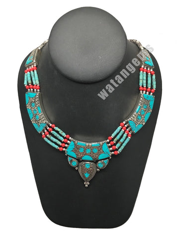 Ethnic Tribal Nepalese Green Turquoise & Red Coral Inlay Statement Necklace,E305