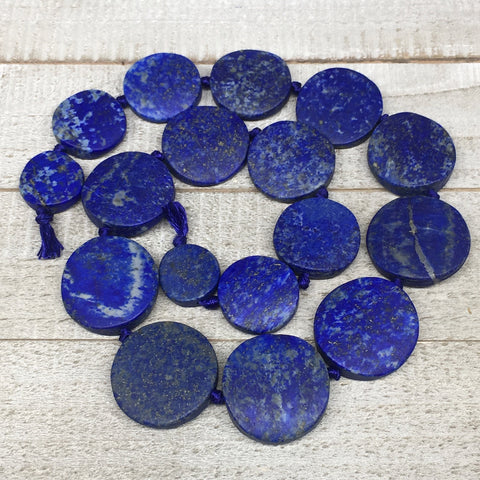 "19mm-32mm,19 Bead Lapis Lazuli Circle/Oval Beads Strand 19"" @Afghanistan,LPB584"
