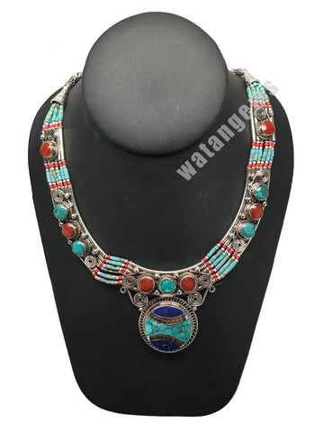 Ethnic Tribal Nepalese Lapis, Green Turquoise & Red Coral Inlay Necklace,E306