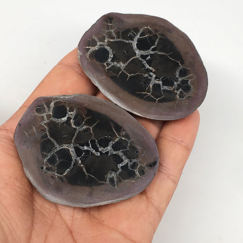 "1 Pair,100.4g,2.3""x1.5"" Natural Unique Septarian Nodules Slabs @Morocco,MF3615"