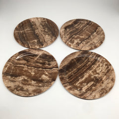 "4pcs set, 8.5"" Well Polished Round Onyx Plates Dish Handmade @Morocco, MF1403"