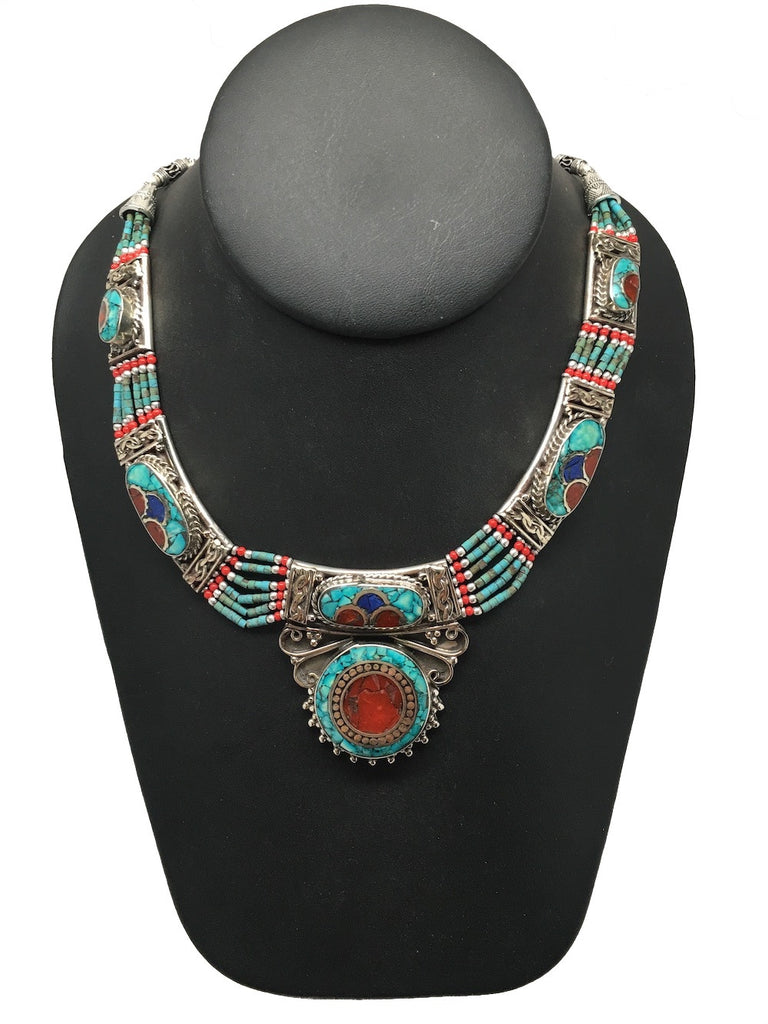 Ethnic Tribal Nepalese Green Turquoise & Red Coral Inlay Statement Necklace,E312