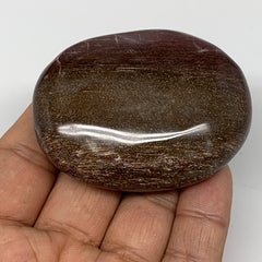 "98.8g,2.4""x1.9""x0.9"" Red Petrified Wood Palm-Stone Crystal Polished Reiki,B4131"