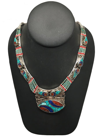 Ethnic Tribal Nepalese Lapis, Green Turquoise & Red Coral Inlay Necklace,E317