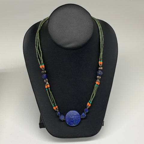 "32.8g, 1mm-26mm, 24"" Lapis Lazuli Green Serpentine Beaded Necklace, P256"