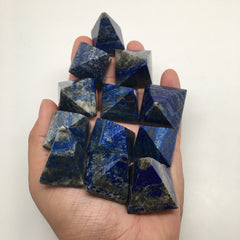 12x Lot Natural Lapis Lazuli Gemstone Small Pyramids Crystal @Afghanistan,C517