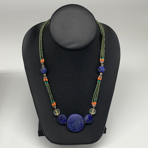 "40.7g, 1mm-28mm, 24"" Lapis Lazuli Green Serpentine Beaded Necklace, P258"