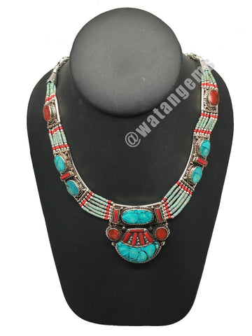 Ethnic Tribal Nepalese Green Turquoise & Red Coral Inlay Statement Necklace,E328