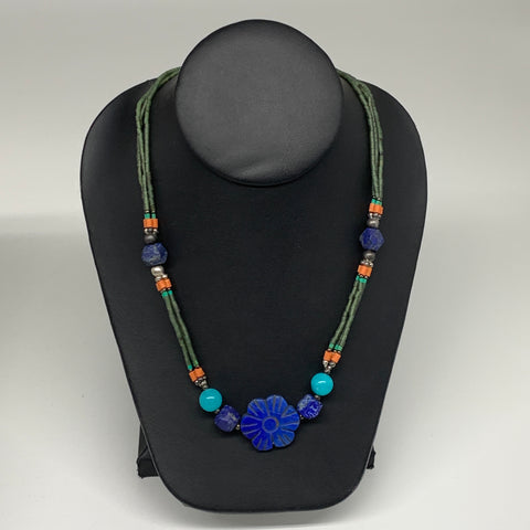"35.2g, 1mm-27mm, 24"" Lapis Lazuli Green Serpentine Beaded Necklace, P261"