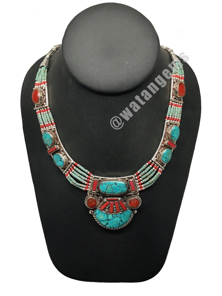 Ethnic Tribal Green Turquoise & Red Coral Inlay Boho Bib Statement Necklace,E333