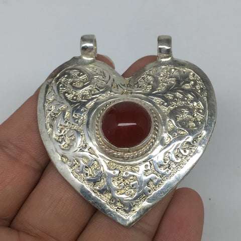 "1pc, 2.3""x2.1""x0.6"",Turkmen Pendant Red Carnelian Heart Shape Statement,TN618"