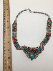 Ethnic Tribal Green Turquoise & Red Coral Inlay Boho Bib Statement Necklace,E334