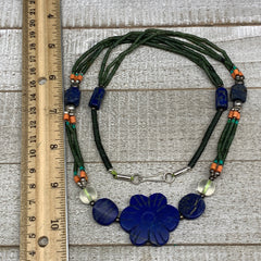 "41g, 1mm-34mm, 24"" Lapis Lazuli Green Serpentine Beaded Necklace, P262"