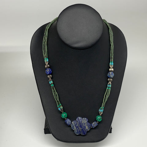 "38g, 1mm-31mm, 24"" Lapis Lazuli Green Serpentine Beaded Necklace, P263"