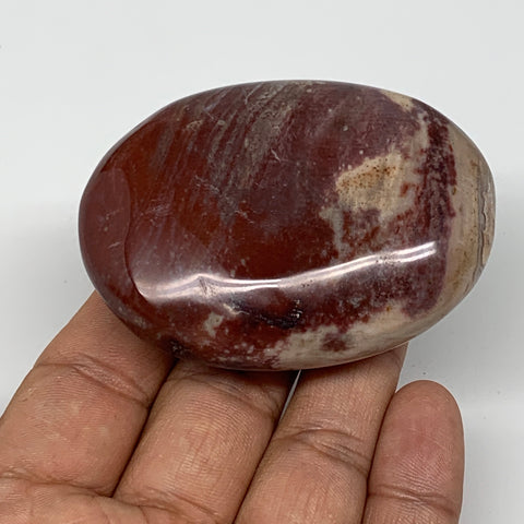 "114.6g,2.6""x1.9""x1"" Red Petrified Wood Palm-Stone Crystal Polished Reiki,B4140"