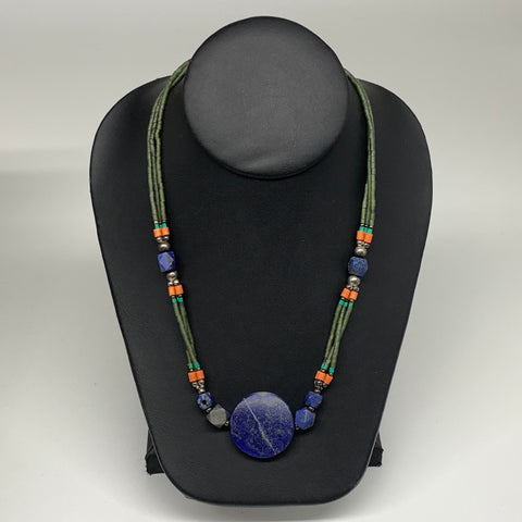 "34.8g, 1mm-30mm, 24"" Lapis Lazuli Green Serpentine Beaded Necklace, P264"