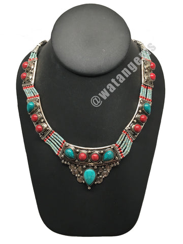 Ethnic Tribal Green Turquoise & Red Coral Inlay Boho Bib Statement Necklace,E338